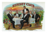Sunset Club Brand Cigar Box Label Posters