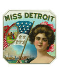 Miss Detroit Brand Cigar Box Label Posters