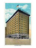 Peoria, Illinois, Exterior View of the Jefferson Hotel Art by  Lantern Press