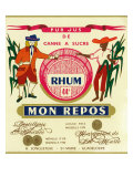 Rhum mon Repos Brand Rum Label Prints by  Lantern Press