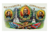 Gettysburg Commanders Brand Cigar Box Label Prints by  Lantern Press
