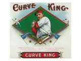 Curve King Brand Cigar Box Label, Baseball Art