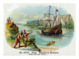 Hendrick Hudson Brand Cigar Box Label, View of Native Americans Looking at a Ship Print