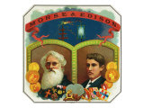 Morse and Edison Brand Cigar Box Label, Samuel F.B. Morse and Thomas Edison Prints by  Lantern Press