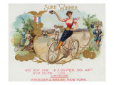 Sure Winner Brand Cigar Box Label, Cycling Posters by  Lantern Press