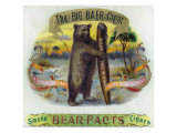 The Big Baer Cigar, Bear-Facts Brand Cigar Inner Box Label, Misspelling Prints