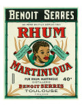 Toulouse, France, Rhum Martiniqua Benoit Serres Brand Rum Label Poster by  Lantern Press