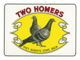 Two Homers Brand Cigar Inner Box Label Poster