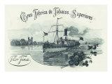 Flor Fina Cran Fabrica de Tabacos Superiores Brand Cigar Box Label, Nautical Poster