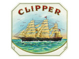 Clipper Brand Cigar Box Label, Nautical Print