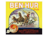 Redlands, California, Ben-Hur Brand Citrus Label Posters by  Lantern Press