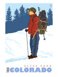 Snow Hiker, Estes Park, Colorado Posters