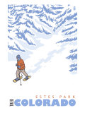 Stylized Snowshoer, Estes Park, Colorado Poster by  Lantern Press