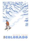 Stylized Snowshoer, Estes Park, Colorado Poster