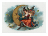 Picant Brand Cigar Box Label, Fairy Woman Smoking on the Moon Prints