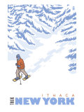 Stylized Snowshoer, Ithaca, New York Prints
