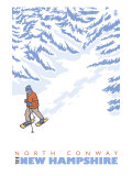 Stylized Snowshoer, North Conway, New Hampshire Posters by  Lantern Press
