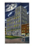 Bangor, Maine, Exterior View of the Telephone Building at Night Posters