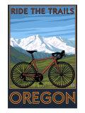 Oregon, Mountain Bike, Ride the Trails Prints by  Lantern Press