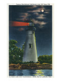 Marblehead, Ohio, View of the Famous Marblehead Lighthouse at Night Art