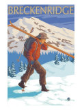Breckenridge, Colorado, Skier Carrying Skis Art by  Lantern Press