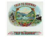Trip to Norway Brand Cigar Box Label, Nautical Posters