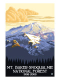 Mount Baker, Washington, Snoqualmie National Forest Posters by  Lantern Press