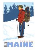 Snow Hiker, Sebago, Maine Prints