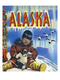 Alaska, View of a Native Child Holding a Puppy, Totem Pole and Penguins Poster