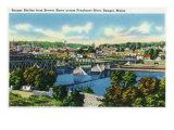 Bangor, Maine, Brewer Shore View of Bangor Skyline, Penobscot River Art