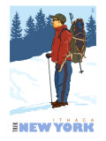 Snow Hiker, Ithaca, New York Prints by  Lantern Press