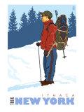 Snow Hiker, Ithaca, New York Prints