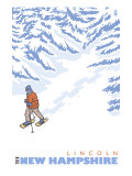 Stylized Snowshoer, Lincoln, New Hampshire Posters