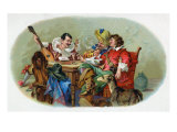 Festive Men Drinking and Smoking Scene Cigar Box Label Posters