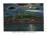 York, Maine, York Beach View of the Nubble Lighthouse at Night Poster