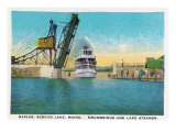 Naples, Maine, View of Sebago Lake, Drawbridge, and a Steamer Posters by  Lantern Press