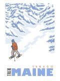 Stylized Snowshoer, Sebago, Maine Prints