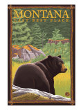 Montana, Last Best Place, Black Bear in Forest Posters by  Lantern Press