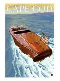 Cape Cod, Massachusetts, Chris Craft Boat Prints by  Lantern Press