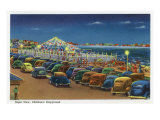 Hampton Beach, New Hampshire, View of the Children's Playground at Night Art by  Lantern Press