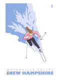 Stylized Skier, Waterville Valley, New Hampshire Prints by  Lantern Press