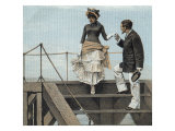 Gentleman Assisting Lady Down Stairs Cigar Box Label Print