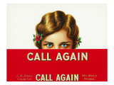 Call Again Brand Cigar Box Label Posters by  Lantern Press