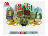 1861 Brand Cigar Box Label, The Weideman Company in Cleveland, Ohio Prints