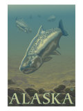 Alaska, Salmon View Print by  Lantern Press