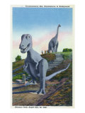 Rapid City, South Dakota, Dinosaur Park View of T-Rex, Brontosaurus Statues Print by  Lantern Press