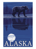 Alaska, Bear in the Moonlight Poster by  Lantern Press