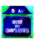 Ave Champs-Elysees Sign, Paris Art by  Tosh