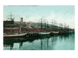 Tacoma, Washington, View of Ships at the Waterfront Poster