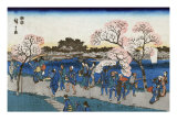 Viewing Cherry Blossoms along the Sumida River, Japanese Wood-Cut Print Print